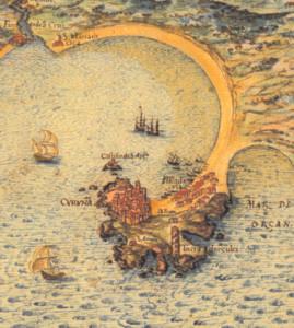 Mapa de Teixeira, 1634. Cedido polo Departamento de Proxectos Arquitectónicos e Urbanismo da UDC.