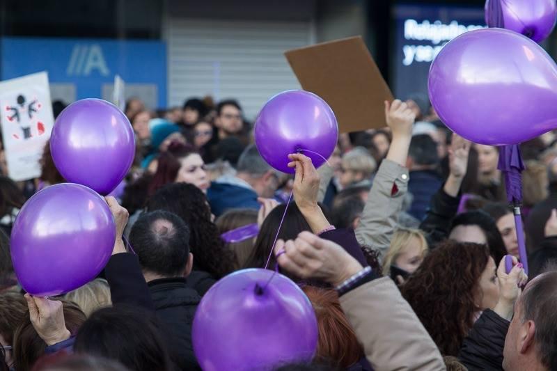 Manifestación do 8M no Obelisco. Coruña.