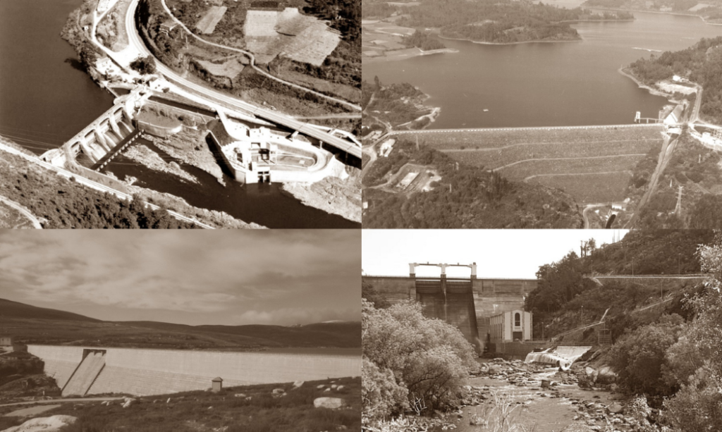 Ríos, encoros, presas, centrais hidroeléctricas.